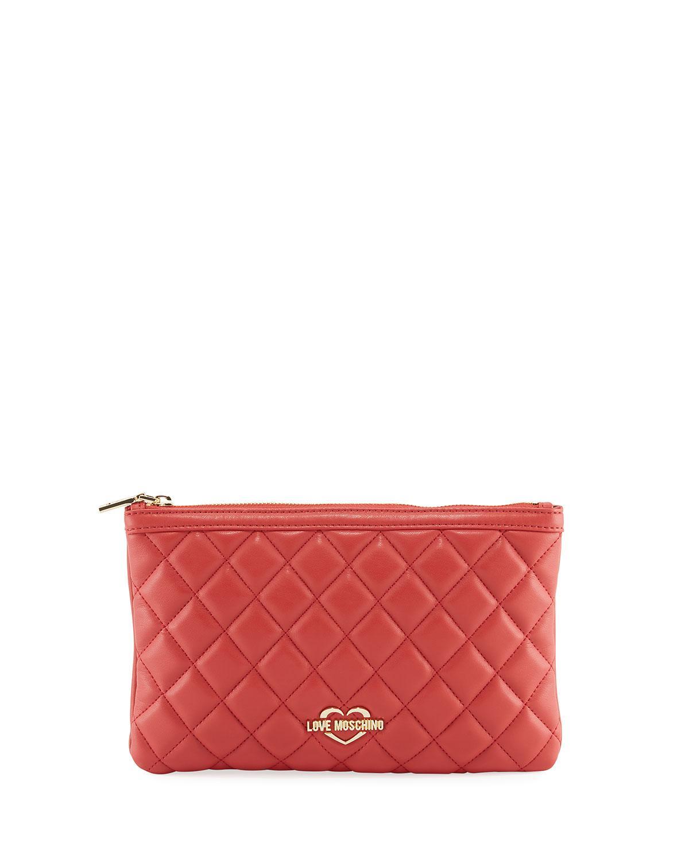 ea7f6d7f34a Love Moschino - Red Medium Quilted Zip-top Shoulder Bag - Lyst. View  fullscreen