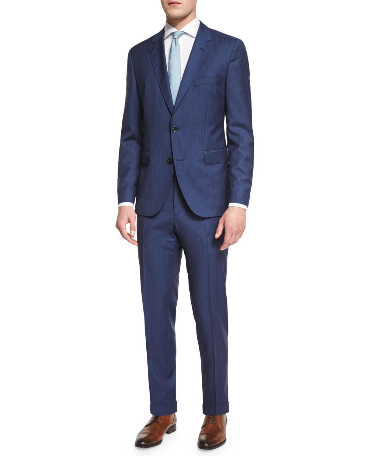 a9878a7cc Lyst - BOSS Johnstons Lennon Striped Slim-fit Basic Suit in Blue for Men