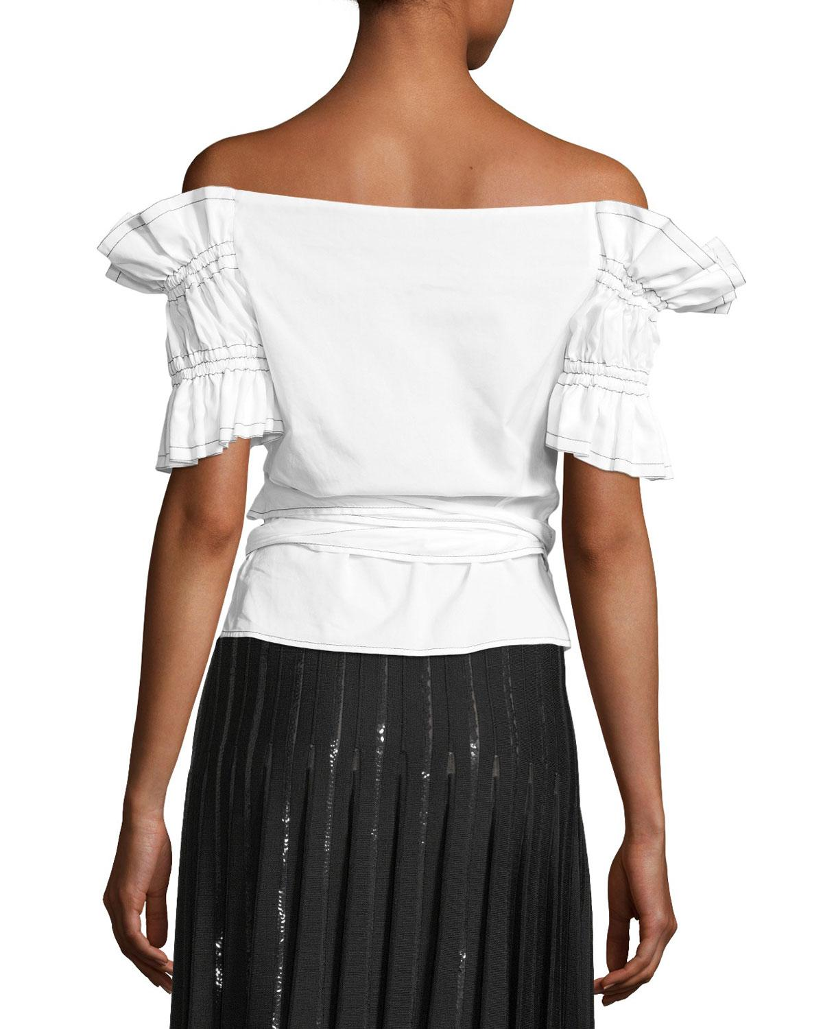 7307f89f738d6 Lyst - Jonathan Simkhai Ruched Off-the-shoulder Poplin Wrap Top in White -  Save 30.188679245283012%