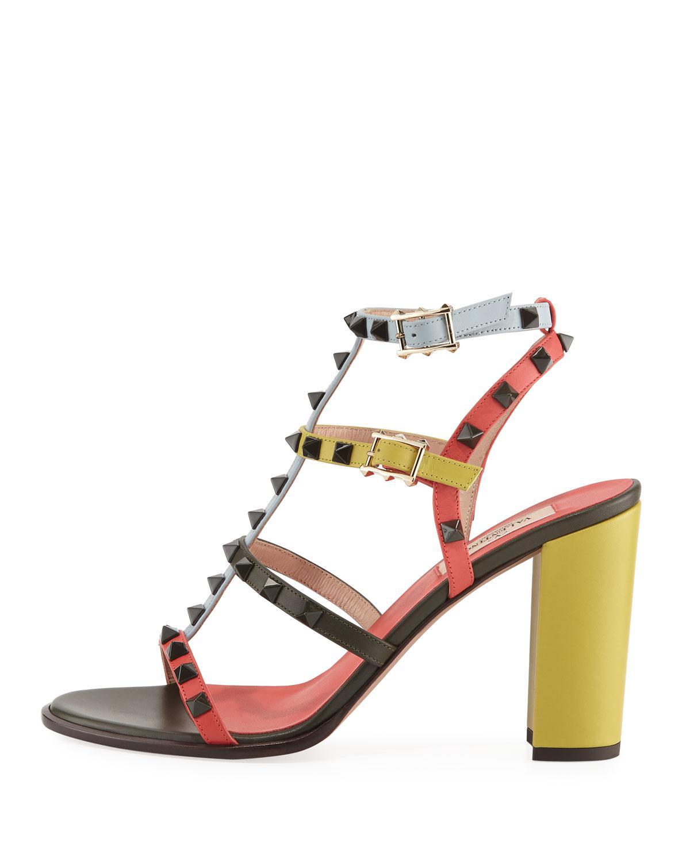 44a43e15be5 Lyst - Valentino Rockstud Multicolored Sandals