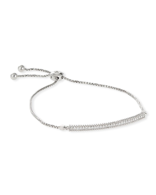 Neiman Marcus Women S 14k White Gold Thin Diamond Bar Bracelet