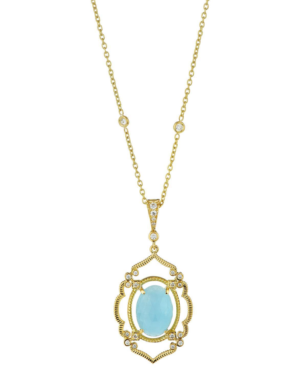 Penny Preville Arabesque Aquamarine & Diamond Pendant Necklace 3adgbC5u