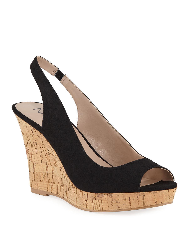 019164ac2749 Lyst - Neiman Marcus Locke Slingback Wedge Sandals in Black