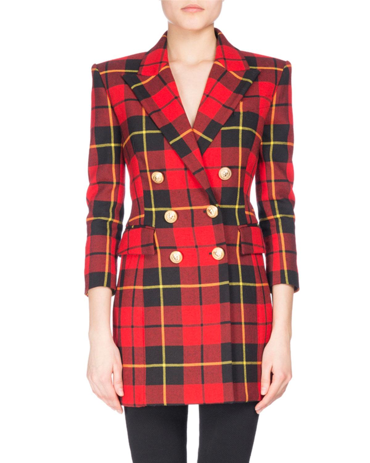 ae4ed853 Balmain - Tartan Double-breasted Minidress Red/black - Lyst. View fullscreen