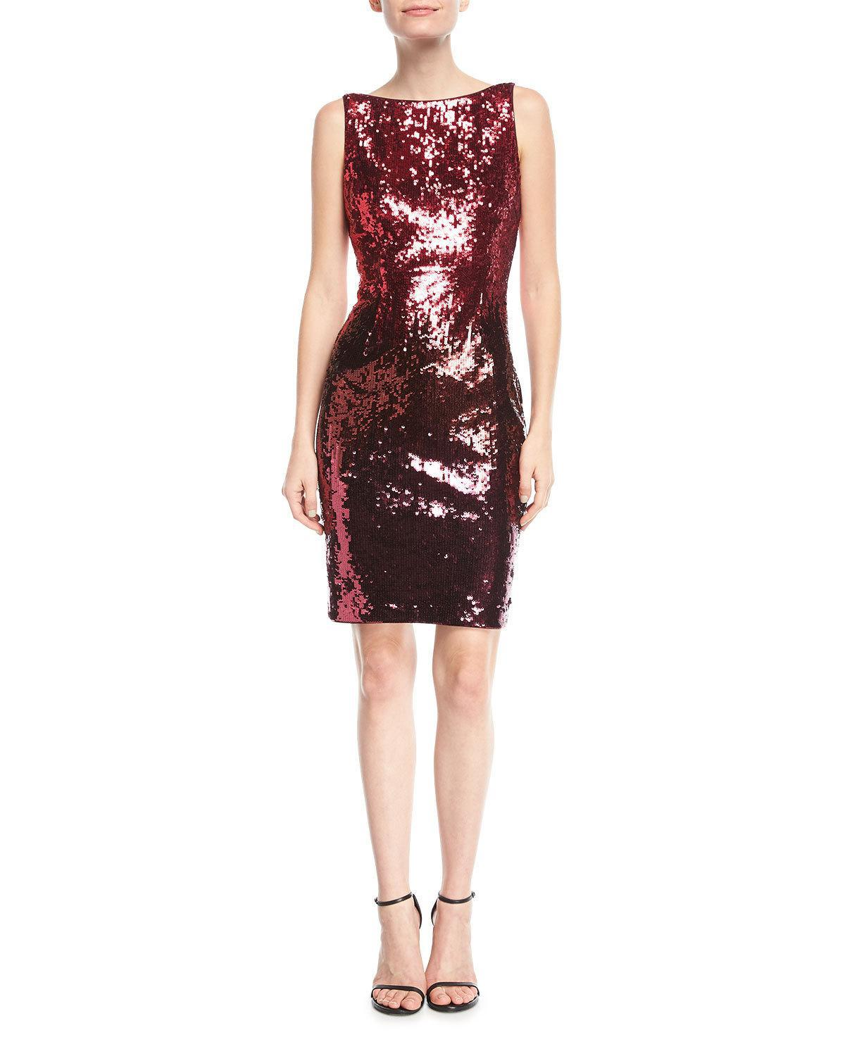 fbd545e7df Lyst - Aidan Mattox Sequin Bateau-neck Cocktail Dress in Red - Save 36%