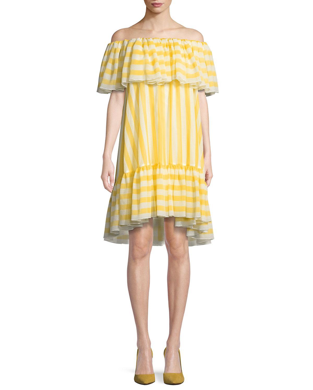 a701f4e65300 Tadashi Shoji. Women s Yellow Striped Flounce Ruffle Off-the-shoulder Dress