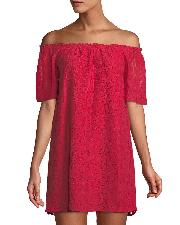 c548a2d6345f7 Lyst - BB Dakota Erica Lace Off-the-shoulder Mini Dress in Red