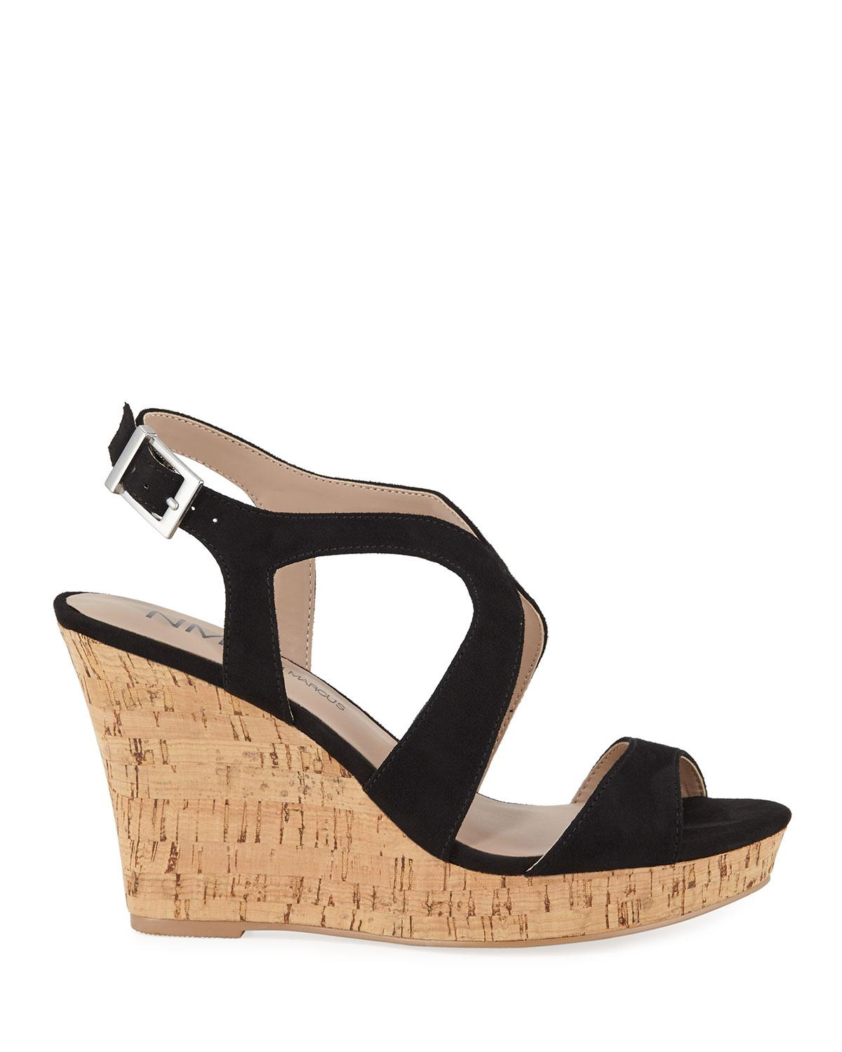 b45142a7d126 Lyst - Neiman Marcus Layton Cork Wedge Sandals in Black