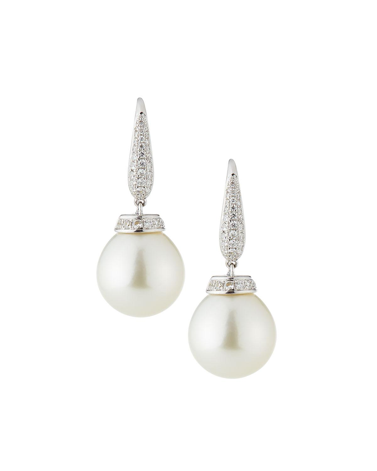 Belpearl 18k Linear Diamond & Pearl Dangle Earrings vxXryuzA
