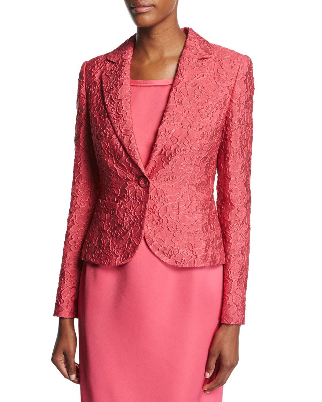 ESCADA Silk Floral Matelasse One-button Blazer In Pink