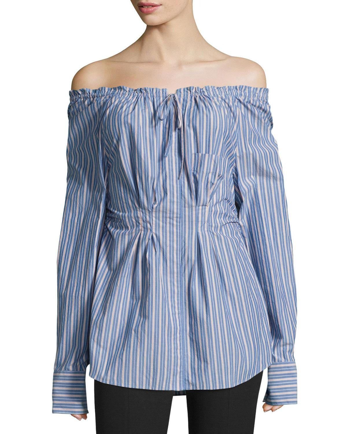 d72f3ee084e7a Lyst - Tibi Garcon Off-the-shoulder Striped Shirred Poplin Top in Blue