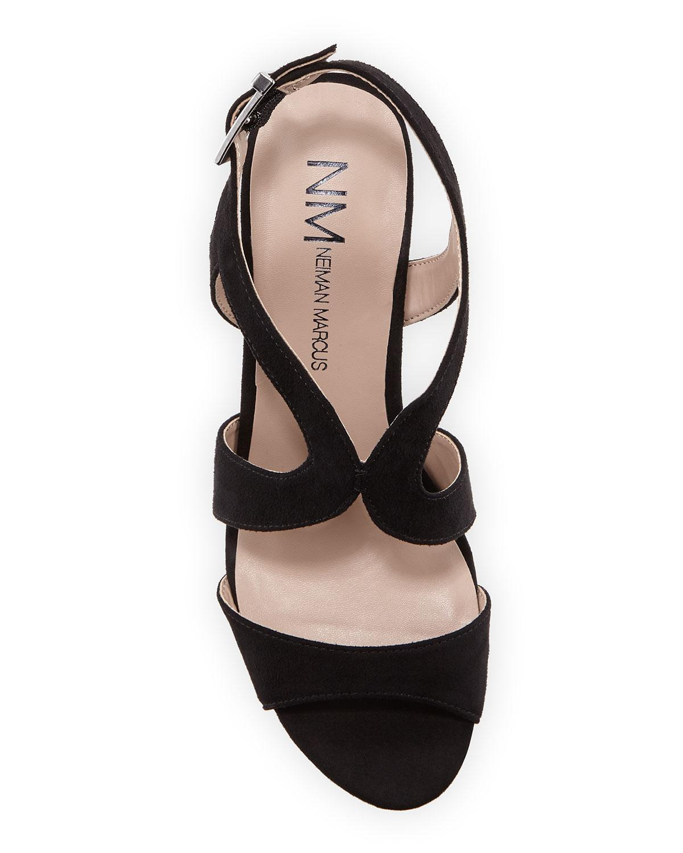 2fa58c320c85 Neiman Marcus - Black Layton Cork Wedge Sandals - Lyst. View fullscreen