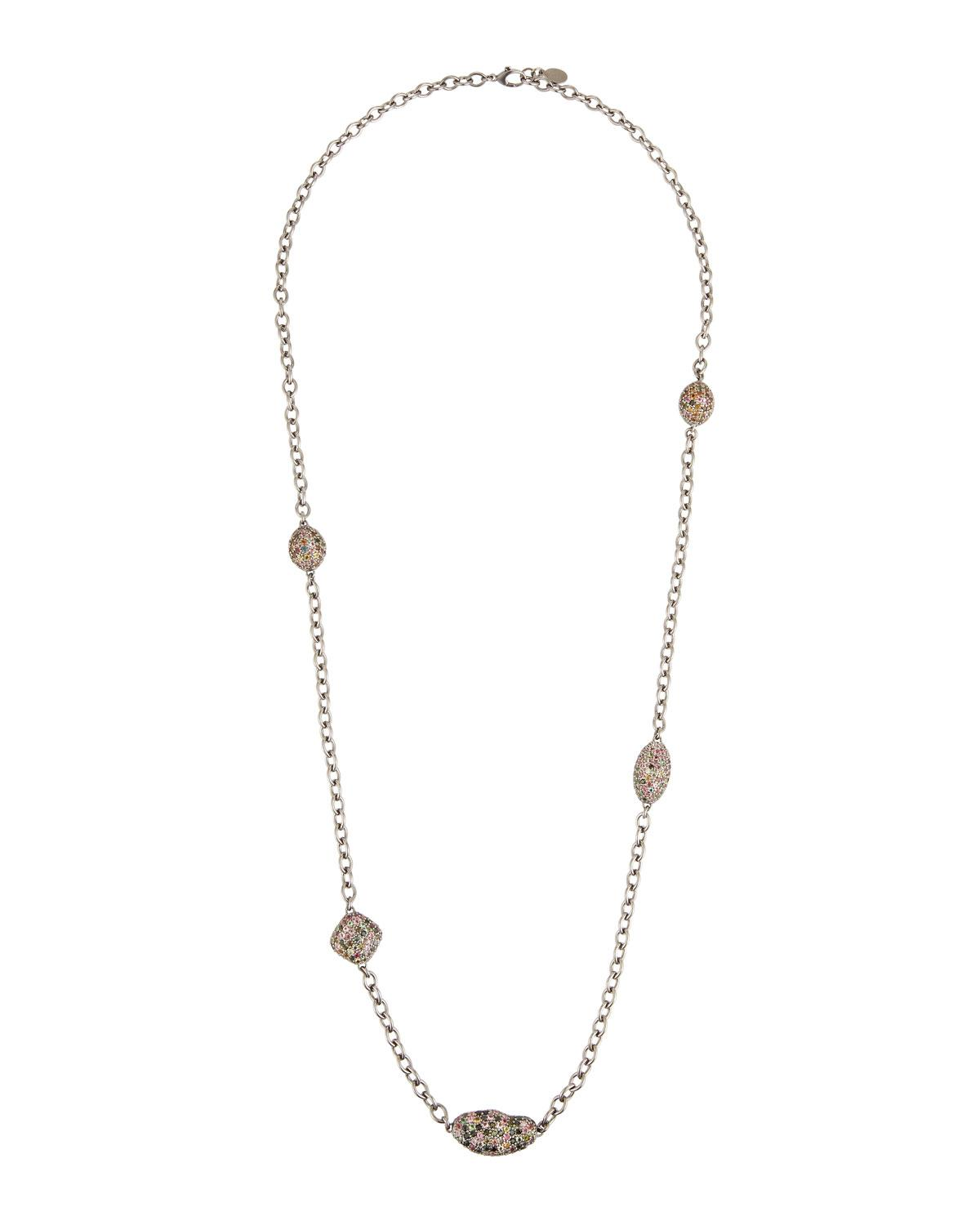 Bavna Long Diamond Station Necklace AP3ImIY3L9