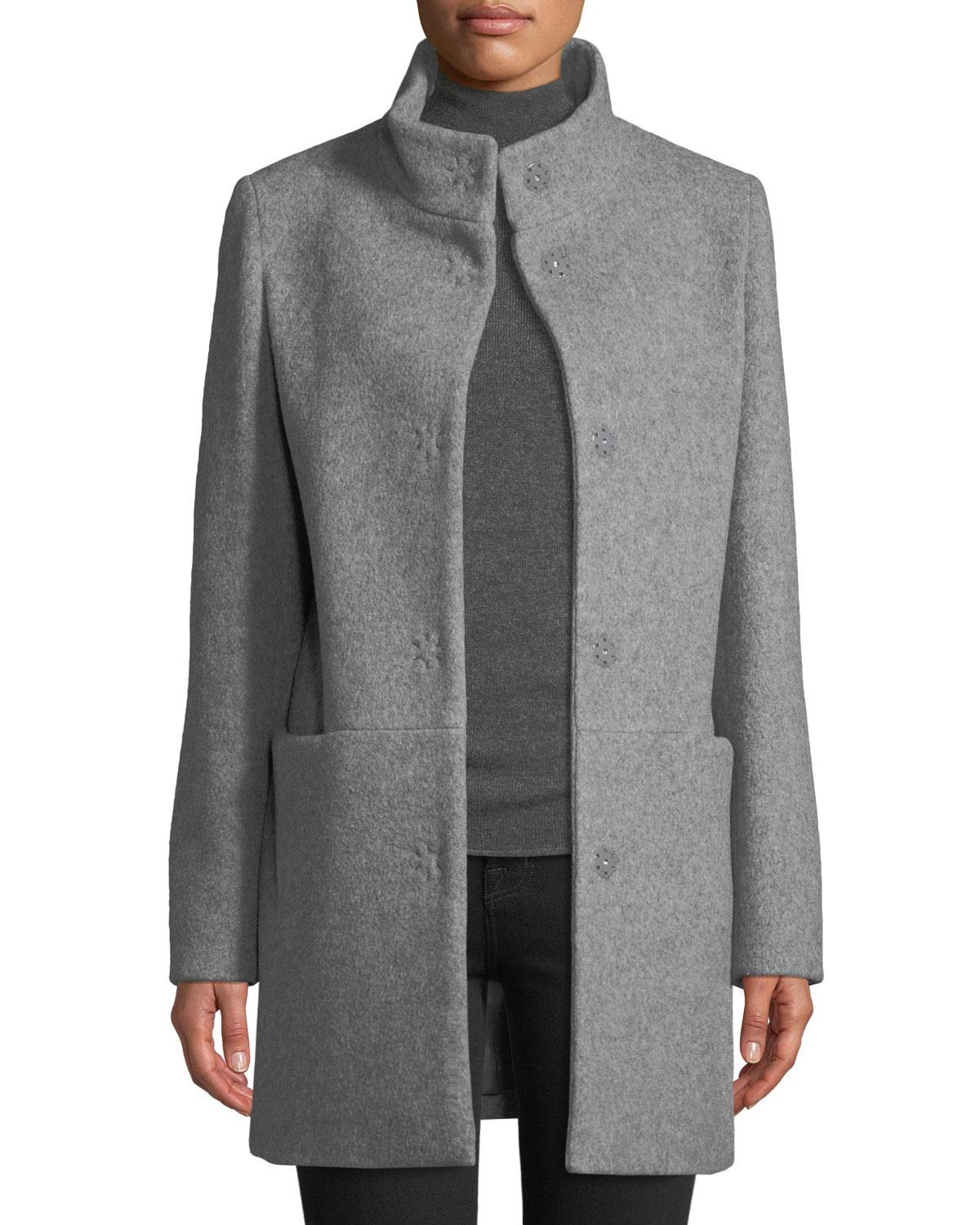 1dd80306f29 Lyst - Cinzia Rocca Snap-button Wool-blend Walking Coat Light Gray ...