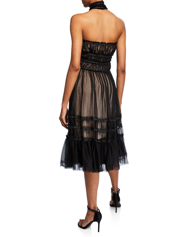 14904bd11e9cd5 Lyst - Max Studio Ruffle Mesh Halter A-line Dress in Black
