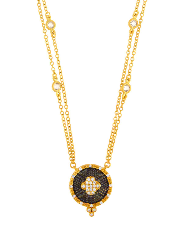 Freida Rothman Long Pave Crystal Clover Pendant Necklace O17t7