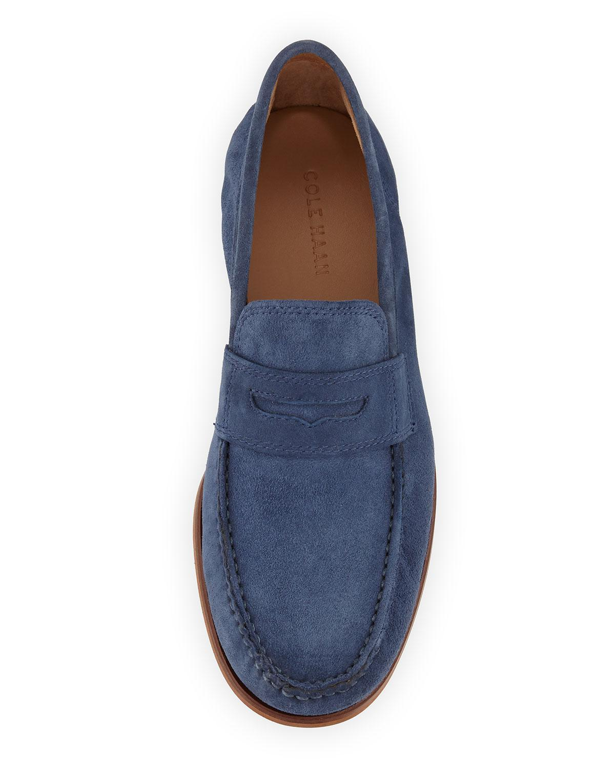 Cole Haan Topsail Penny Ii Suede Loafer in Blue for Men - Lyst