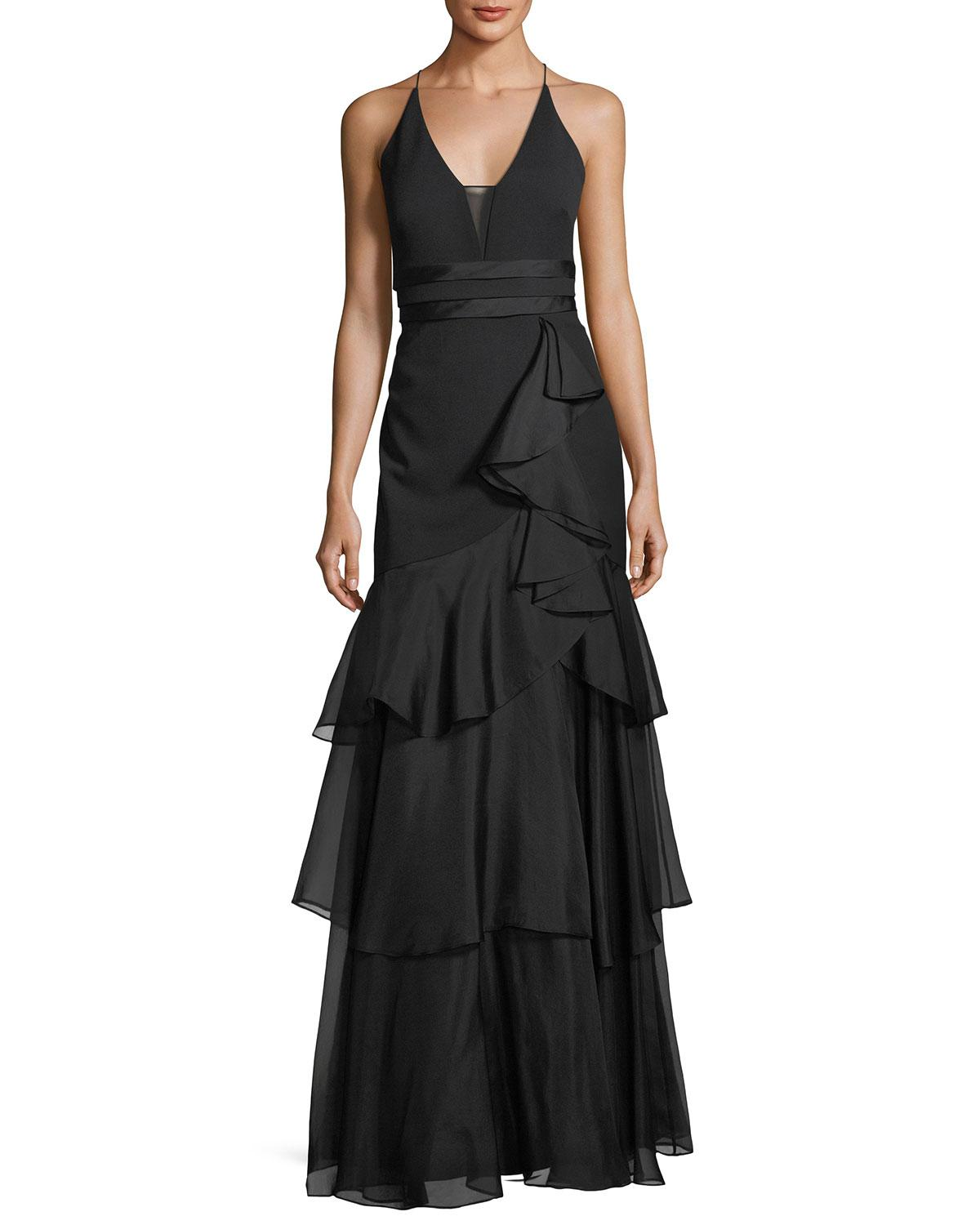 4bb2899cee3 Lyst - Aidan Mattox Tiered-ruffle Crepe Gown in Black - Save 50%
