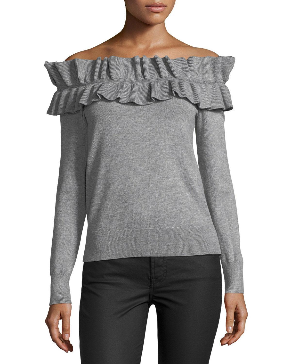 Philosophy Ruffled Off-the-shoulder Sweater in Gray | Lyst