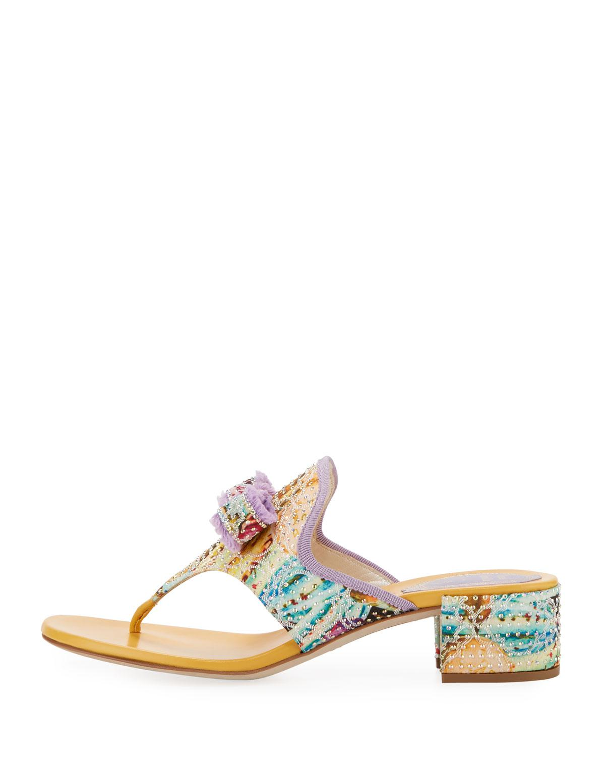 d8389490942beb Rene Caovilla Floral Thong Sandal With Bow in Yellow - Lyst