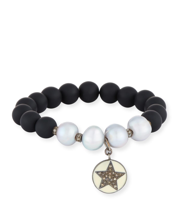Bavna Stretchy Mixed-Stone Bracelet w/ Diamonds RXepa