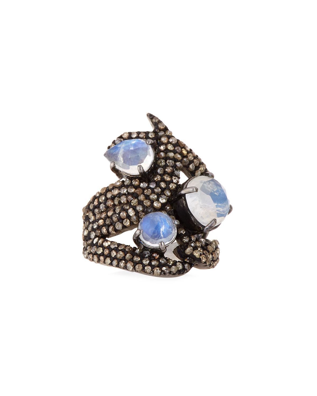 Bavna Moonstone & Diamond Ring, Size 7.25