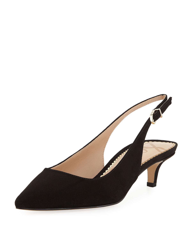 cf0f19ab4f6 Lyst - Sam Edelman Ludlow Suede Kitten-heel Slingback Pumps in Black ...