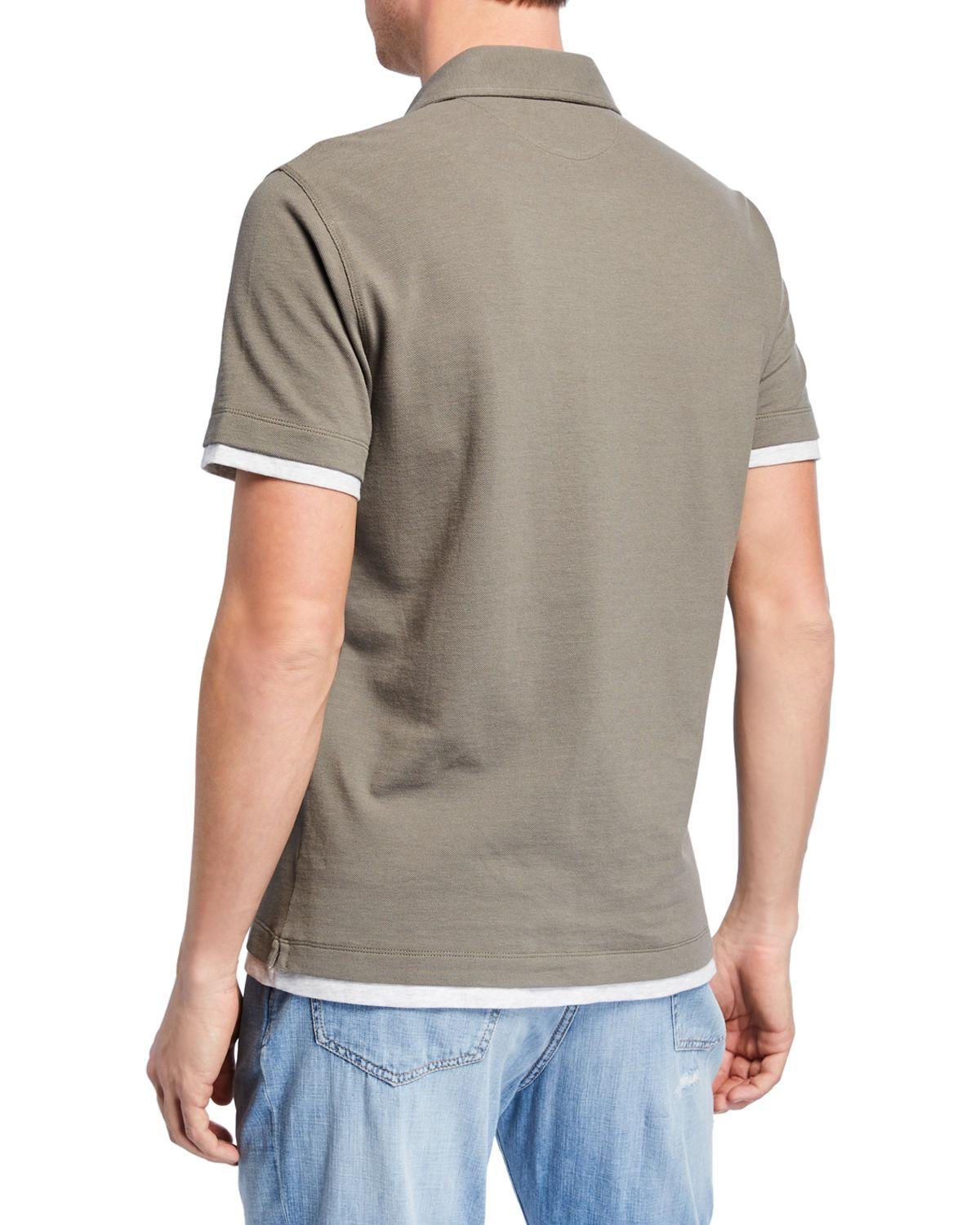 871a32d2737f9 Lyst - Brunello Cucinelli Men s Overlapping Cotton Slim Polo Shirt in Green  for Men