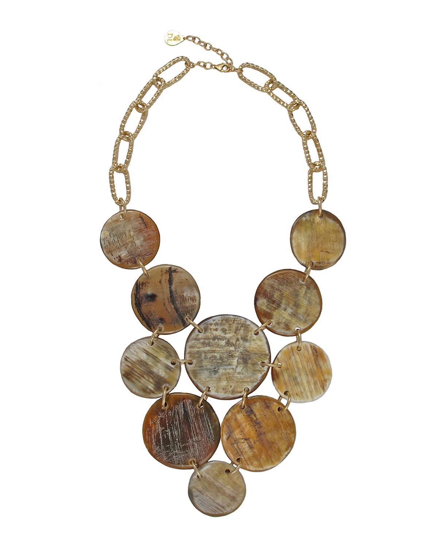 Devon Leigh Horn Coin Bib Necklace CL8sAKNTlp