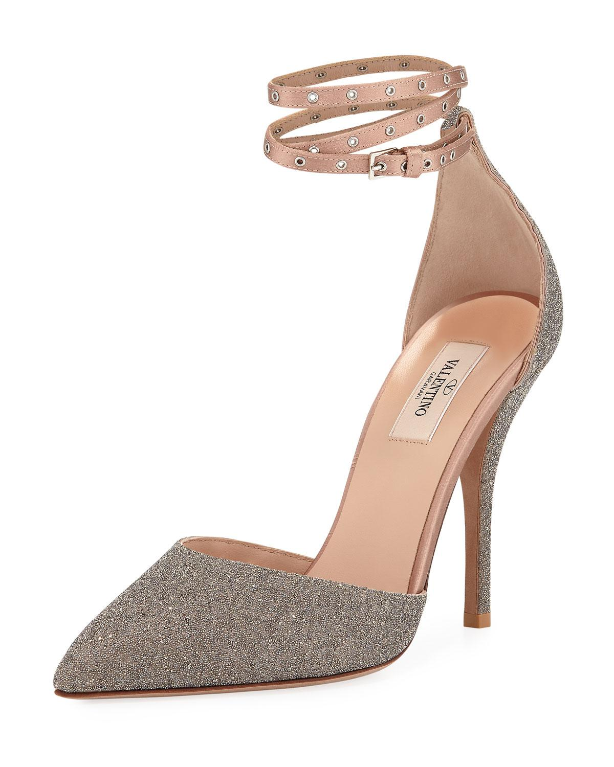 12f32c116a6 Valentino - Natural Glitter Pointed-toe Ankle-wrap Pumps - Lyst. View  fullscreen