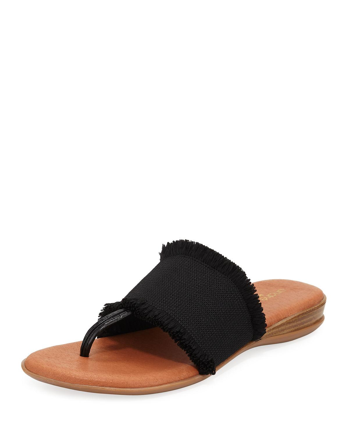 5ad788b7b30d29 Andre Assous. Women s Black Nanette Frayed-trim Leather Slide Sandals