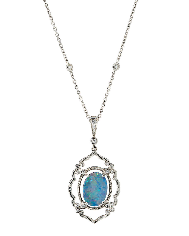 Penny Preville Arabesque Aquamarine & Diamond Pendant Necklace mSree