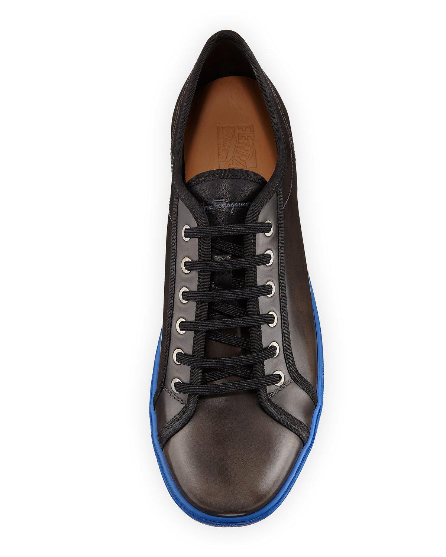 3dbfa71d778 Lyst - Ferragamo Men s Lace-up Sneakers With Contrast Heel in Black for Men