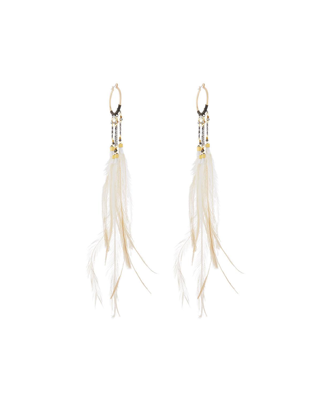 Nakamol Beaded Hoop Drop Feather Earrings EjRlMz5KUw