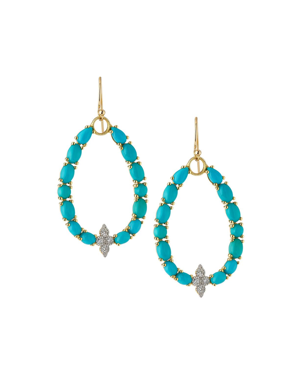 Jude Frances Moroccan 18k Yellow Gold Turquoise/Diamond Drop Earrings rRFWLdml8