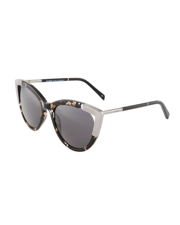c10bd127ecae5 Balmain - Black Tortoise Acetate metal Cat-eye Sunglasses - Lyst. View  fullscreen