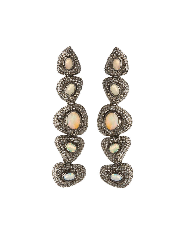 e6eb5c0b5 Lyst - Bavna Black Silver Freeform Drop Earrings With Compressed ...