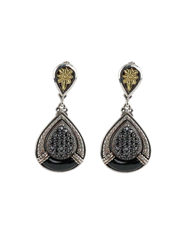 Konstantino Asteri Pave Black Diamond & Onyx Double-Drop Earrings AqGQOJ