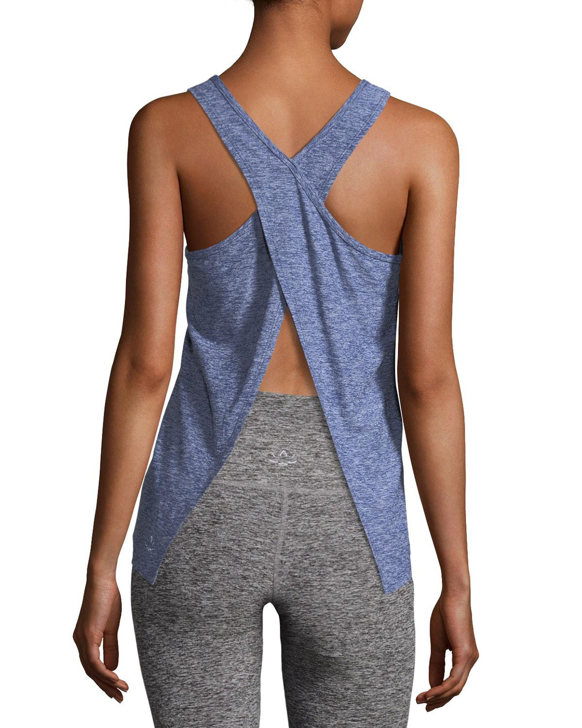 3fa8acdf336fb6 Lyst - Beyond Yoga Scoop-neck Lightweight Cross-back Performance Tank in  Blue - Save 33%