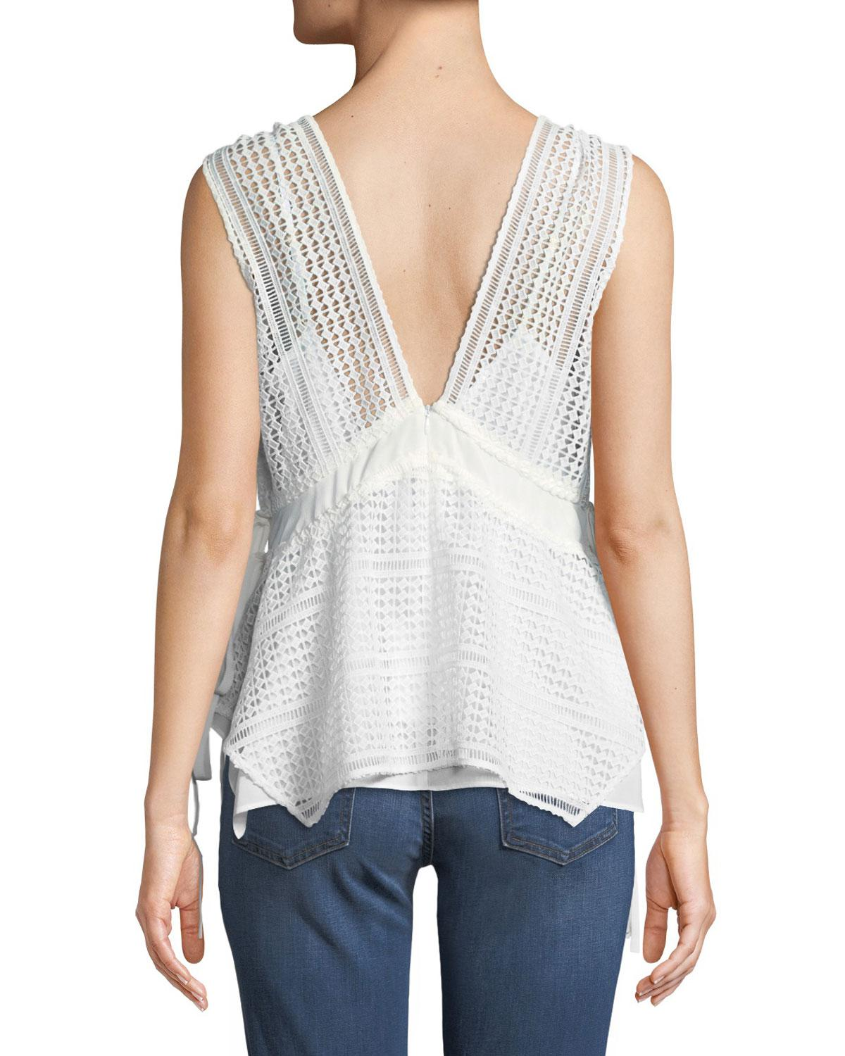 4e4c3026fdfbd9 Lyst - 10 Crosby Derek Lam Sleeveless V-neck Lace-guipure Top W  Ties in  White - Save 52%