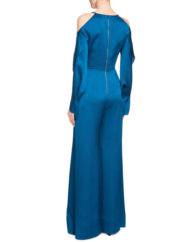 dd18851e71e Lyst - Roland Mouret Soham Satin Cold-shoulder Jumpsuit in Blue - Save 30%