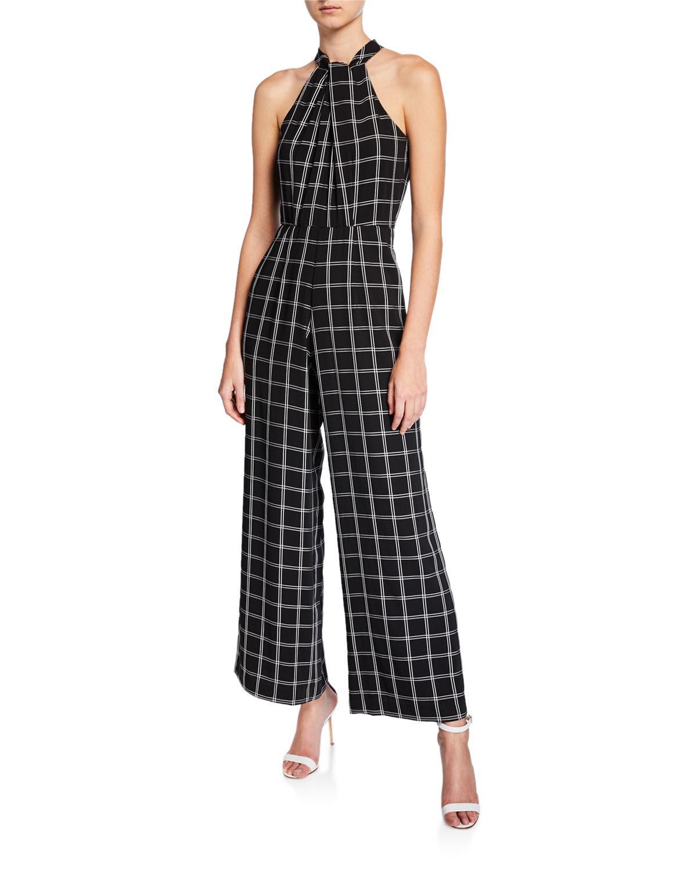c08bb6153d21 Lyst - Julia Jordan Wide-leg Halter Windowpane Jumpsuit in Black