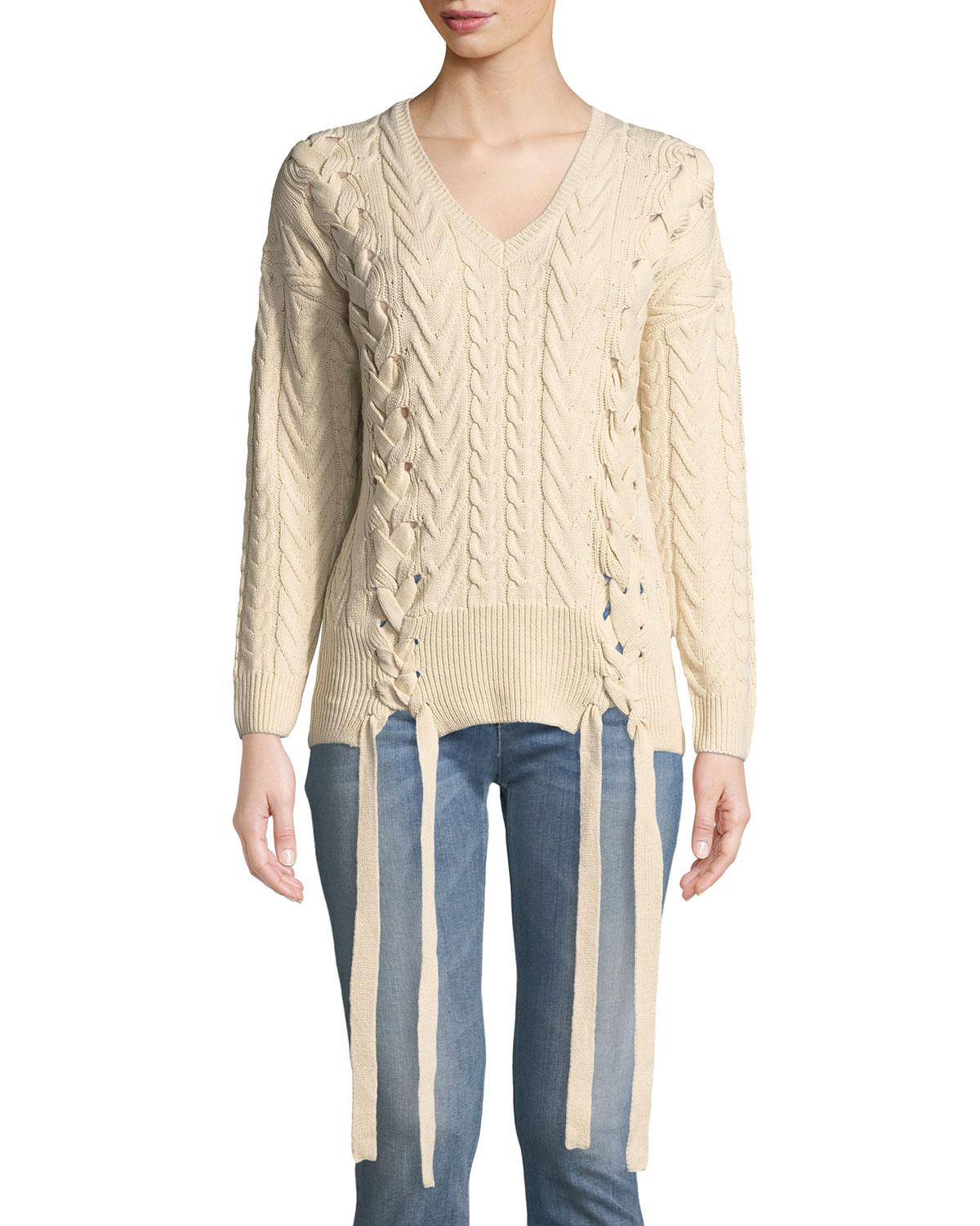 Lyst - Neiman Marcus Cable Knit Lace-up V-neck Sweater in Natural a9320e0d4