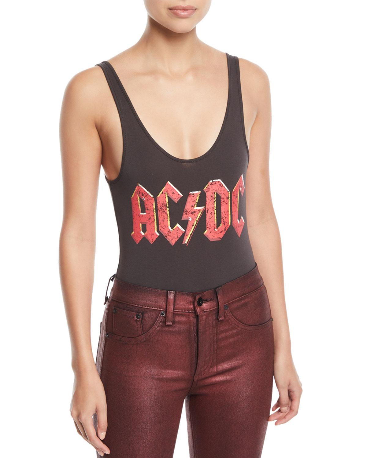 0152557a78f744 Lyst - Chaser Classic Ac dc Band Logo Graphic Bodysuit in Black