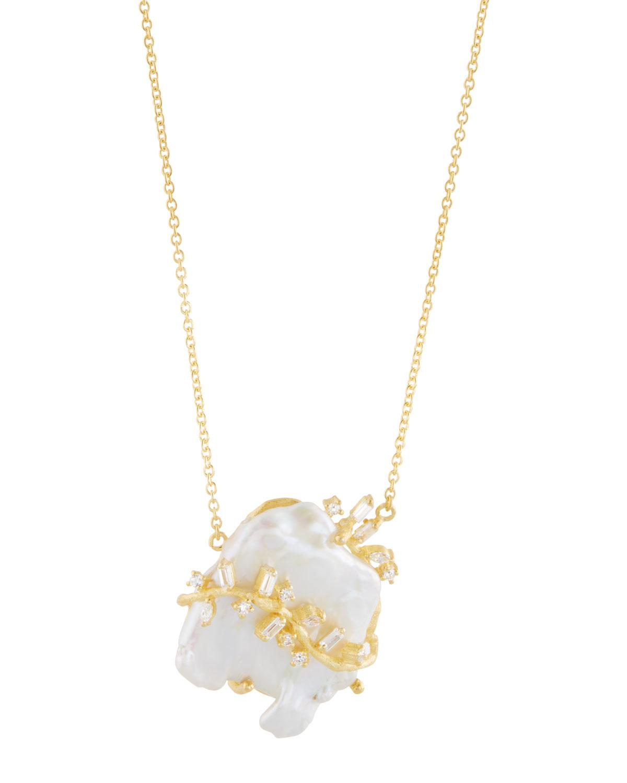 Indulgems Keshi Pearl & Crystal Vine Pendant Necklace 5JKfGpp