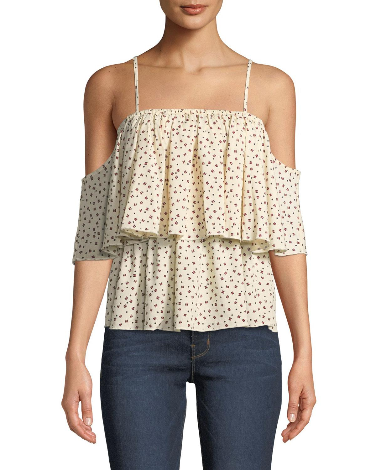 444831bb4a609 Lyst - Bishop + Young Lilly Tiered Floral Cold-shoulder Blouse in White