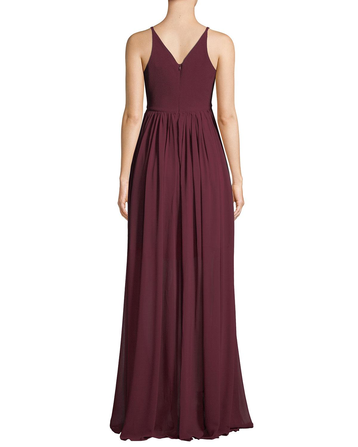 2b7c8d35c53 Lyst - Dress the Population Phoebe V-neck Sleeveless Empire Gown in Purple