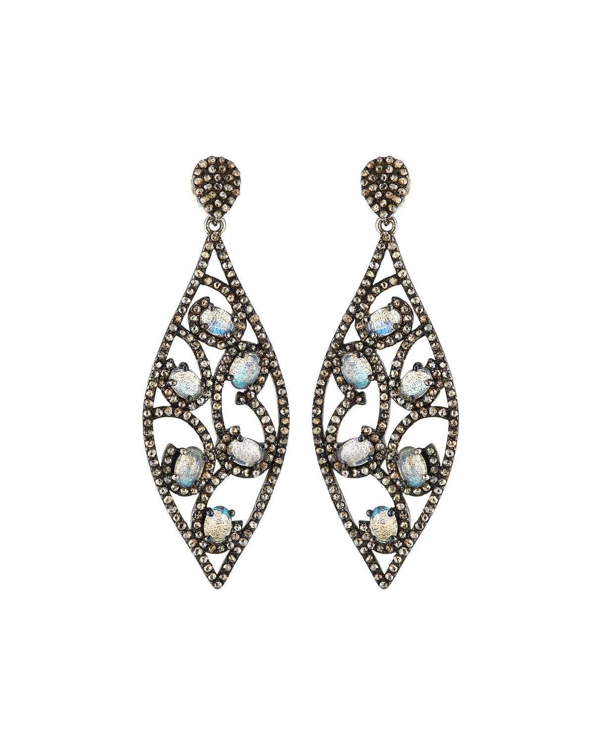Bavna Black Diamond & Moonstone Hoop Drop Earrings za2wwuqmWY