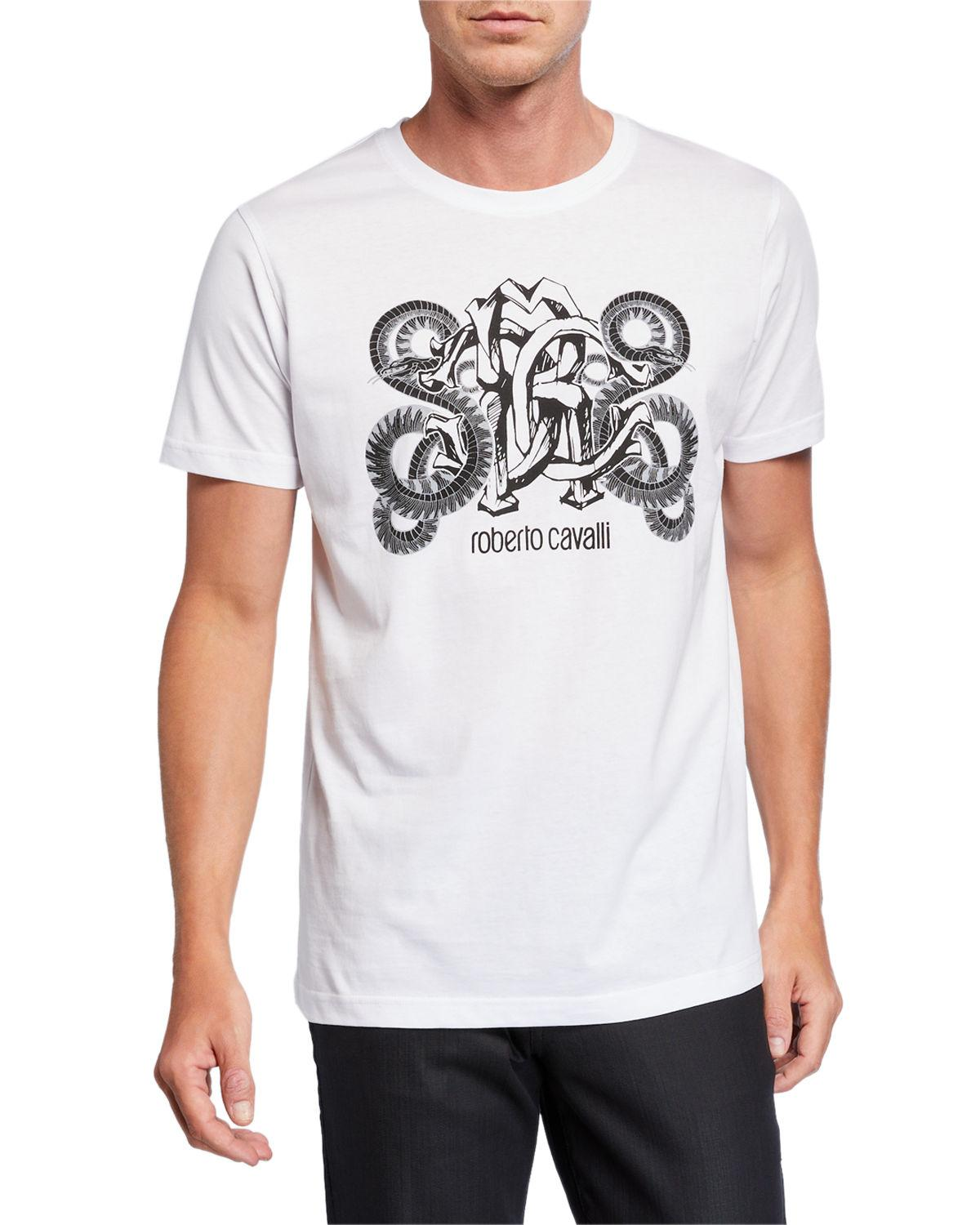 Roberto Cavalli Men S Mirror Snake Logo Graphic T Shirt In