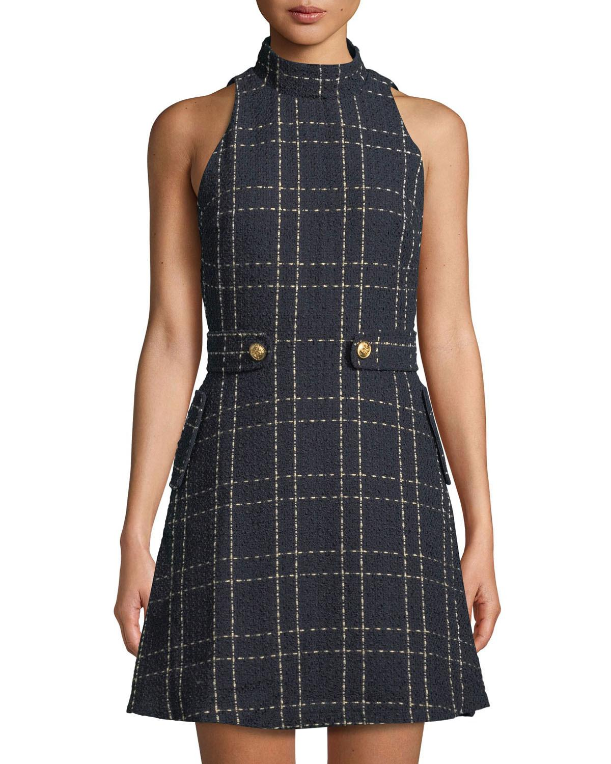 Alexia Admor Synthetic Metallic Plaid Belted Fit And Flare